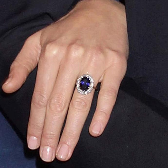 Kate Middleton (and Princess Diana) were both famously given this ceylon sapphire and diamond Garrard ring.