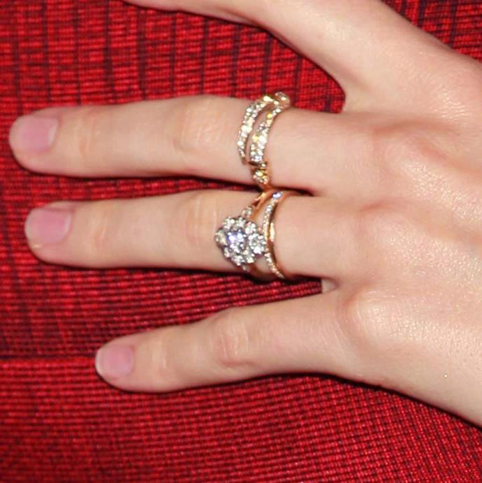 Orlando Bloom gave his ex-wife, Miranda Kerr, a similar floral-inspired cluster ring with a halo of eight round diamonds, also set on a gold band.