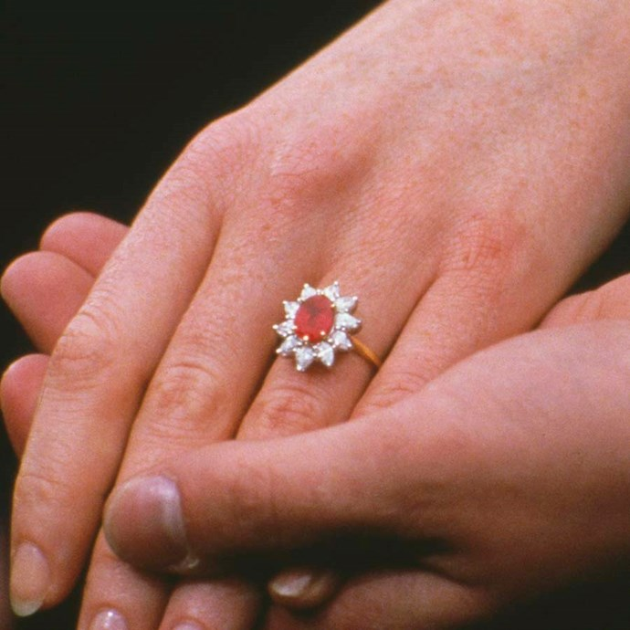Sarah, Duchess of York, also went for a ruby-and-diamond floral design.