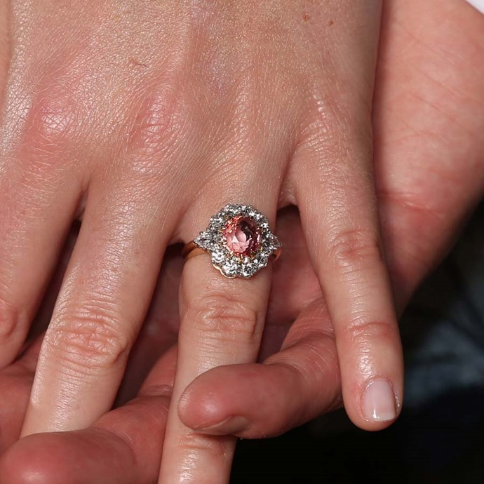 Princess Eugenie's cluster ring centres around a blush padparadscha sapphire.