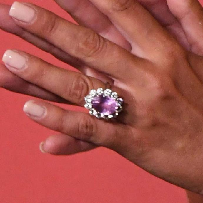 Lady Gaga received this pink-sapphire and diamond ring from fiancé , Christian Carino.