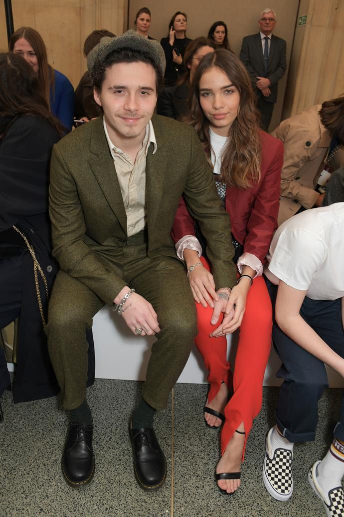 Brooklyn Beckham and Hana Cross at the Victoria Beckham fashion show on February 16, 2019.
