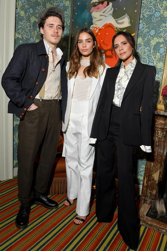 Brooklyn Beckham, Hana Cross and Victoria Beckham on February 16, 2019.