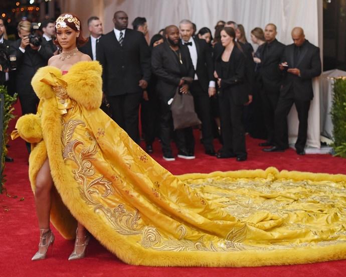 Rihanna at the Met Gala on May 4, 2015.
