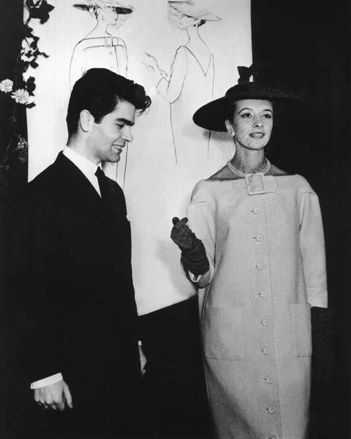 Lagerfeld at 21 years old in 1954, with an outfit he designed.