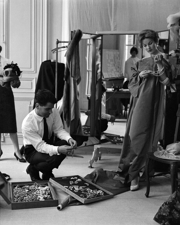 Lagerfeld working for designer Jean Patou in 1958.
