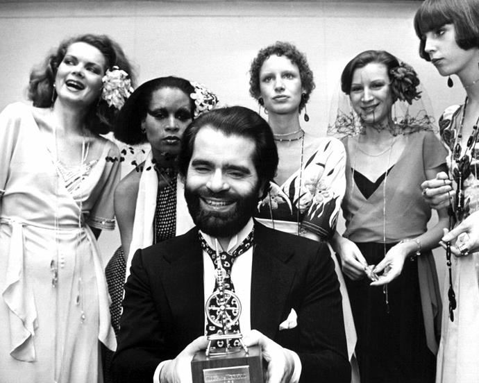 Lagerfeld with his 'Golden Spinning Wheel', a design award, in 1973.
