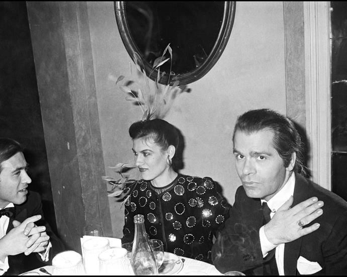 With Paloma Picasso (daughter of Pablo) at a dinner hosted by Valentino in 1978.