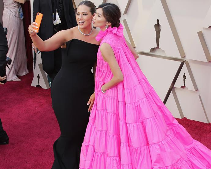 Gemma Chan and Ashley Graham at the 2019 Academy Awards on February 24, 2019.