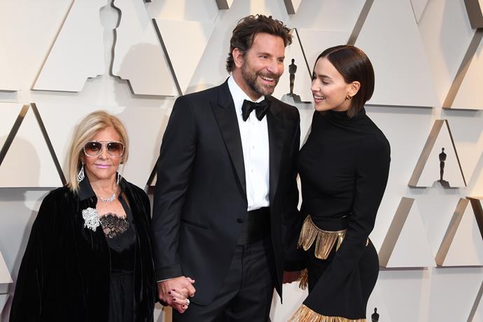 A family affair: best actor nominee Bradley Cooper with mum Gloria Campano and partner Irina Shayk.