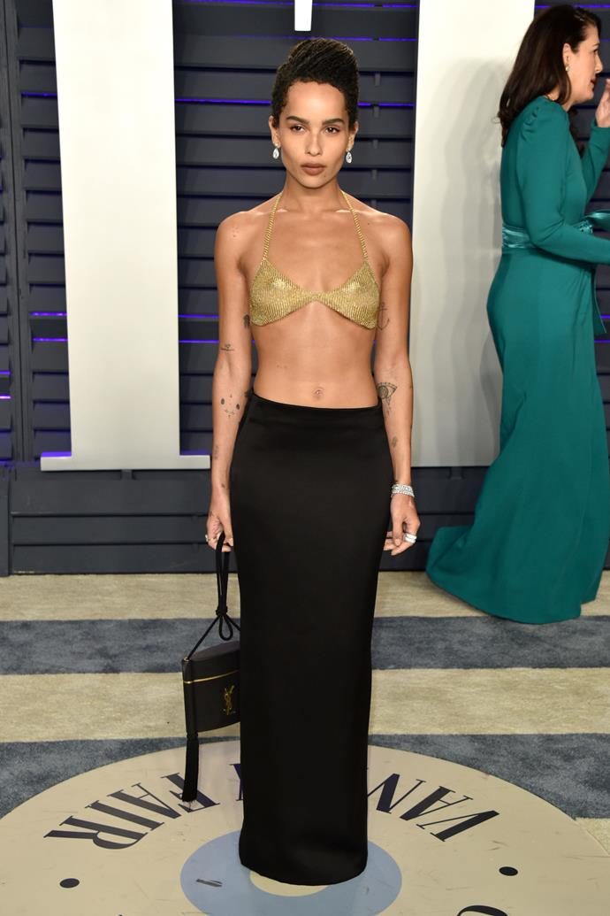 Zoë Kravitz in a Tiffany & Co. by Elsa Peretti top and Saint Laurent by Anthony Vaccarello skirt.