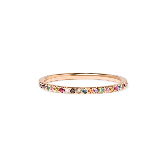 """***Colour Of My Love***<br><br> Gold and silver isn't the only route when it comes to colour. In 2019, more and more brides will be turning to coloured gemstones and diamonds to add some interest to their band. <br><br> """"Some brides opt to include coloured gemstones as well, such as rubies and sapphires to create a ring that is completely unique to their own style,"""" says Ely. """"We are also seeing more couples who wish to have the bride and grooms' wedding band match.""""<br><br> Ring by Ileana Makri, $1,613 at [NET-A-PORTER](https://www.net-a-porter.com/au/en/product/1124304/ileana_makri/thread-18-karat-rose-gold-multi-stone-ring