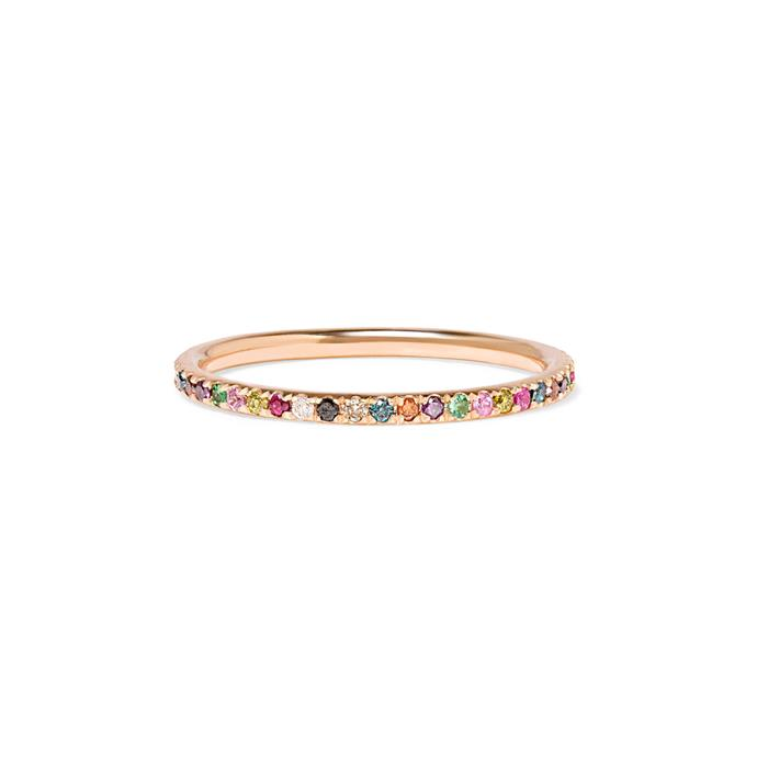"***Colour Of My Love***<br><br> Gold and silver isn't the only route when it comes to colour. In 2019, more and more brides will be turning to coloured gemstones and diamonds to add some interest to their band. <br><br> ""Some brides opt to include coloured gemstones as well, such as rubies and sapphires to create a ring that is completely unique to their own style,"" says Ely. ""We are also seeing more couples who wish to have the bride and grooms' wedding band match.""<br><br> Ring by Ileana Makri, $1,613 at [NET-A-PORTER](https://www.net-a-porter.com/au/en/product/1124304/ileana_makri/thread-18-karat-rose-gold-multi-stone-ring