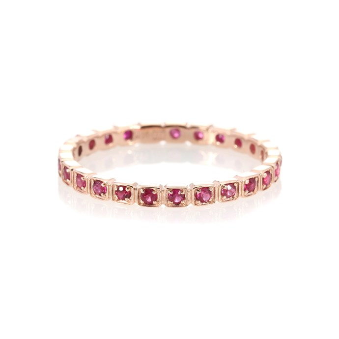 """***Colour Of My Love***<br><br> Ring by Anna Sheffield, $2,005 at [My Theresa](https://www.mytheresa.com/en-au/001407-wheat-eternity-14kt-rose-gold-ring-with-rubies-893890.html?catref=category