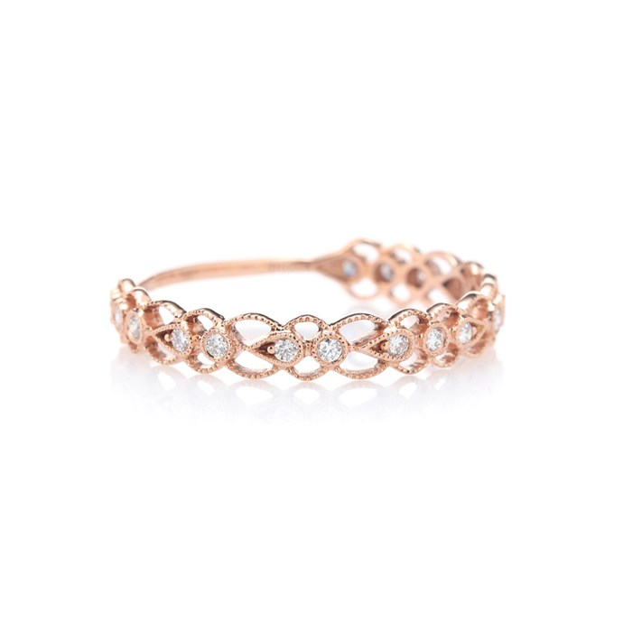 """***Rose Gold***<br><br> Update classic gold with a rosy finish. Ely hints that rose gold will be big this year. <br><br> """"In regards to metal choice, most brides decide to have their wedding band the same as their engagement ring colour, however we are seeing some brides chose a rose gold wedding band due to the metals' complimentary tone and ability to set diamonds alight.""""<br><br> Ring by Stone Paris, $1,879 at [My Theresa](https://www.mytheresa.com/en-au/001130-celeste-14-kt-rose-gold-and-diamonds-ring-819881.html?catref=category