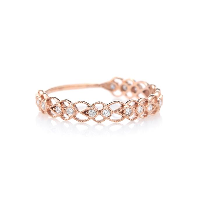 "***Rose Gold***<br><br> Update classic gold with a rosy finish. Ely hints that rose gold will be big this year. <br><br> ""In regards to metal choice, most brides decide to have their wedding band the same as their engagement ring colour, however we are seeing some brides chose a rose gold wedding band due to the metals' complimentary tone and ability to set diamonds alight.""<br><br> Ring by Stone Paris, $1,879 at [My Theresa](https://www.mytheresa.com/en-au/001130-celeste-14-kt-rose-gold-and-diamonds-ring-819881.html?catref=category