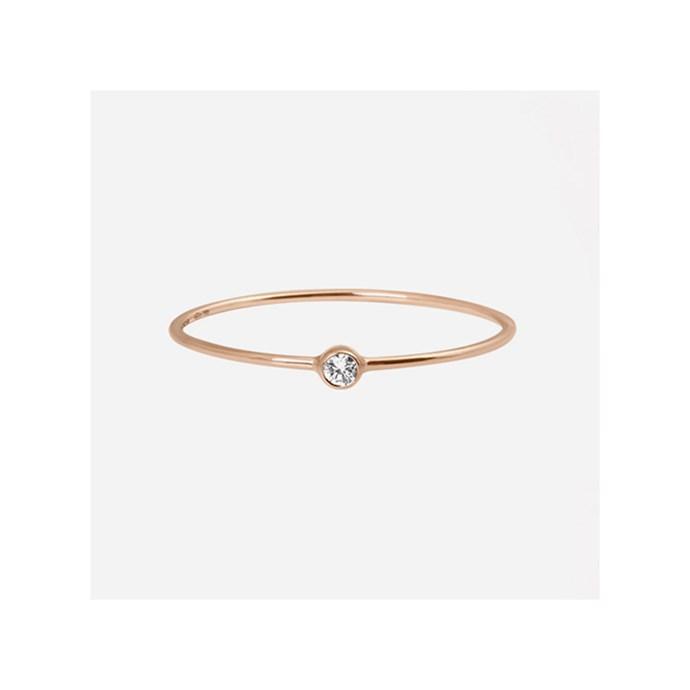"***Rose Gold***<br><br> Ring by VanRycke, $630 at [MyChameleon](https://www.mychameleon.com.au/fashion/jewellery/rings/one-diamond-ring-rose-gold|target=""_blank""|rel=""nofollow"")."