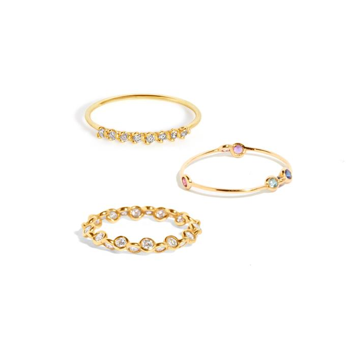 "***Stacked Up***<br><br> Rings ([top](https://www.sarahandsebastian.com/products/petal-ring|target=""_blank""