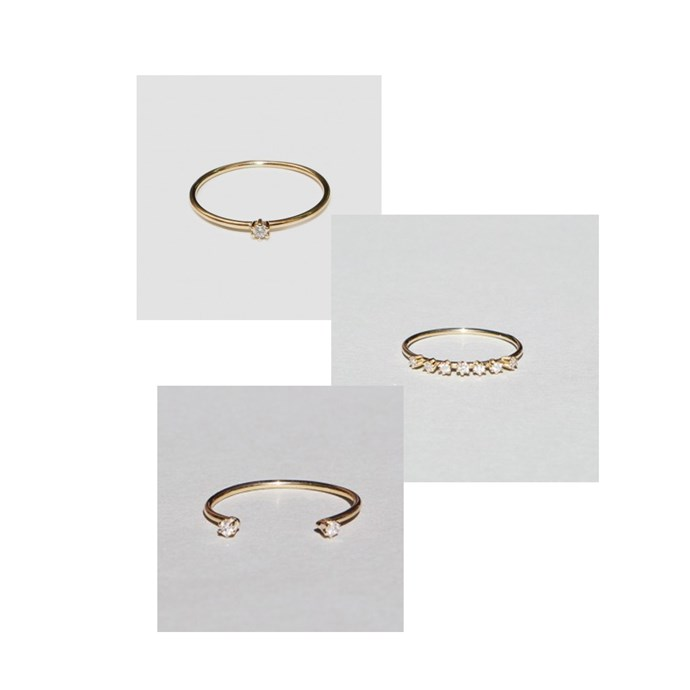 """***Stacked Up***<br><br> Rings ([top](https://www.saskia-diez.com/store/women/rings/mini-wire-solitaire-ring/