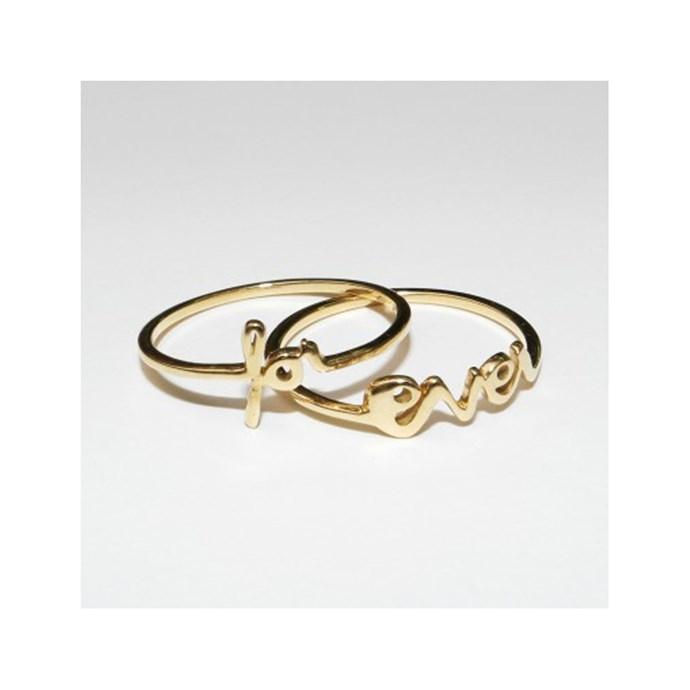 "***Say Something***<br><br> Rings, $516 by [Saskia Diez](https://www.saskia-diez.com/store/women/rings/gold-forever-rings/|target=""_blank""|rel=""nofollow"")."