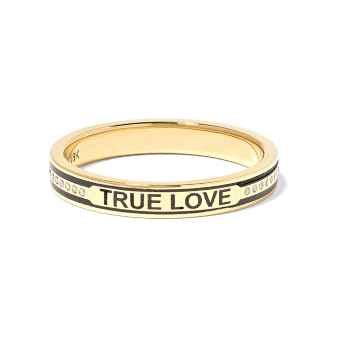 """***Say Something***<br><br> Rings by Foundrae, $3,409 at [NET-A-PORTER](https://www.net-a-porter.com/au/en/product/1133626/foundrae/true-love-18-karat-gold--diamond-and-enamel-ring