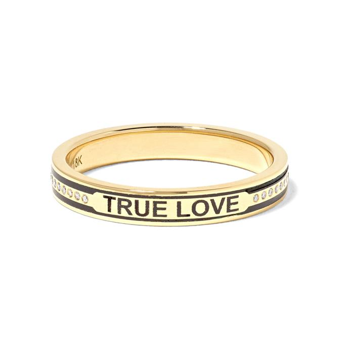 "***Say Something***<br><br> Rings by Foundrae, $3,409 at [NET-A-PORTER](https://www.net-a-porter.com/au/en/product/1133626/foundrae/true-love-18-karat-gold--diamond-and-enamel-ring|target=""_blank""