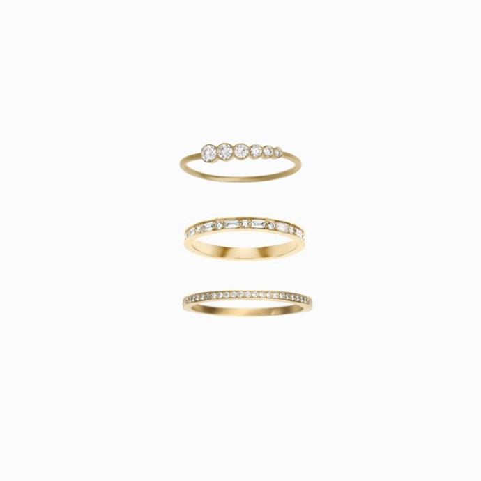 """***Stacked Up***<br><br> Why wear one ring when you could wear multiple? Ely suggests that stacking bands (either on one side of the engagement ring or on each) will see a spike in popularity. <br><br> """"This year will see the continued trend in women desiring two or even three bands to stack either side of their engagement ring. By stacking wedding bands it creates a unique look and allows you to combine different styles, like diamond embellished bands and mixed metals with the engagement ring,"""" says Ely. <br><br> """"The stacking trend has also enabled some brides to choose to wear both rings on the same side to add more depth to the set and be closer to the heart.""""<br><br> Rings ([top](https://sophiebillebrahe.com/en/product/pleine-de-lune-grand