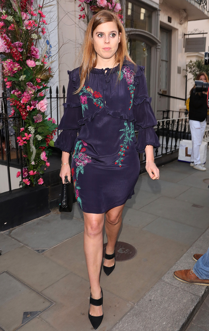 Flower Crown: Princess Beatrice leaving Chiltern Firehouse in 2018.