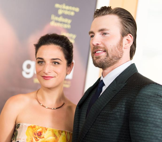 Evans with Jenny Slate in 2017.