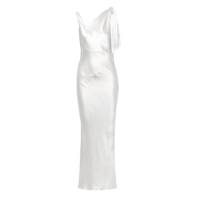 "**Buy:** Dress by Deitas, $1,373 at [Net-a-Porter](https://www.net-a-porter.com/au/en/product/1120918/Deitas/louise-asymmetric-silk-satin-maxi-dress|target=""_blank""