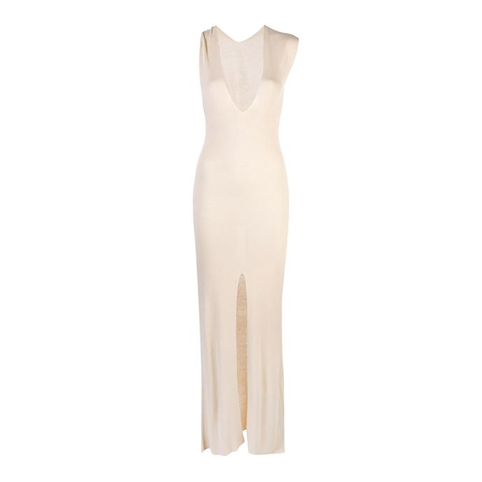 "**Buy:** Dress by Jacquemus, $1,006 at [Farfetch](https://www.farfetch.com/au/shopping/women/jacquemus-long-knitted-slit-dress-item-13767768.aspx?storeid=9352|target=""_blank""
