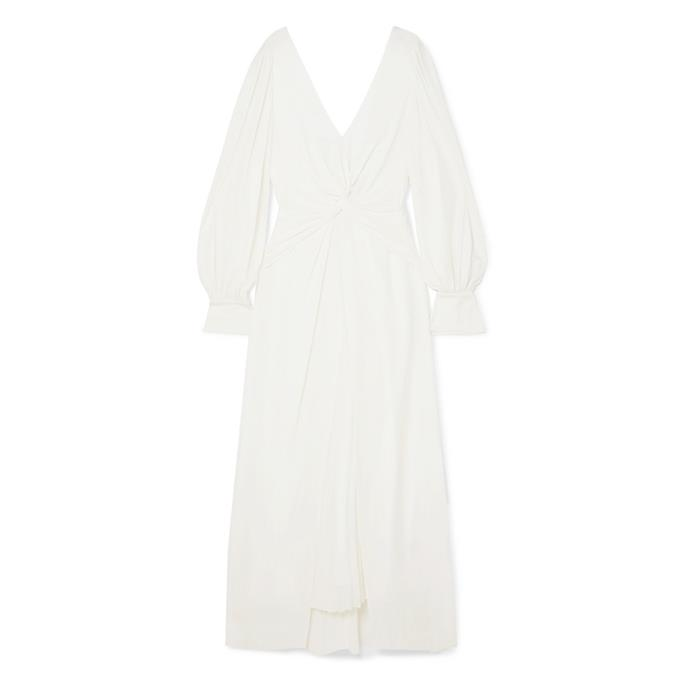"**Buy:** Dress by Self-Portrait, $488 at [Net-a-Porter](https://www.net-a-porter.com/au/en/product/1101232/Self_Portrait/pleated-twisted-jersey-midi-dress|target=""_blank""