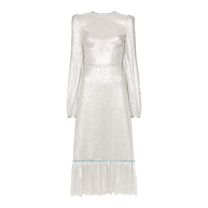 "**Buy:** Dress by The Vampire's Wife, $4,506 at [Farfetch](https://www.farfetch.com/au/shopping/women/the-vampires-wife-lame-ruffle-hem-silk-blend-dress-item-13438851.aspx?storeid=9359|target=""_blank""|rel=""nofollow"")"