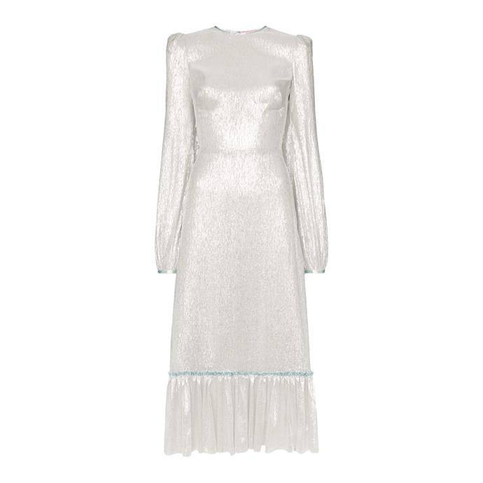 "**Buy:** Dress by The Vampire's Wife, $4,506 at [Farfetch](https://www.farfetch.com/au/shopping/women/the-vampires-wife-lame-ruffle-hem-silk-blend-dress-item-13438851.aspx?storeid=9359|target=""_blank""