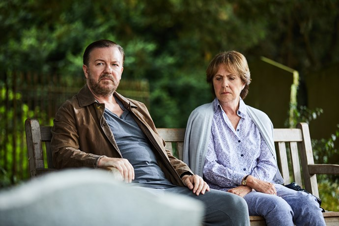 ***After Life* (8/3/2019)** <br><br> Struggling to come to terms with his wife's death, a writer for a newspaper (played by Ricky Gervais) adopts a gruff new persona in an effort to push away those trying to help.
