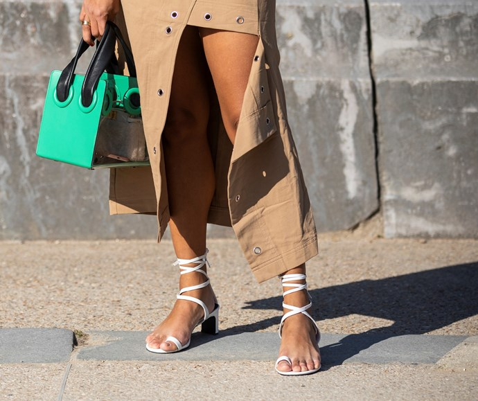 """**BARELY-THERE SANDALS** <br><br> """"Skinny strap sandals will be popular for next summer,"""" Gerona advises. """"I love the styles from Ancient Greek Sandals."""""""