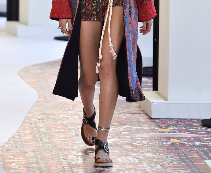"""**THICK-STRAP SANDALS** <br><br> """"While strappy sandals are still trending, be brave and try a bolder look,"""" Wong suggests. """"These Chloe sandals still give the barely-there feel, just with a thicker strap around the ankle and toe."""""""