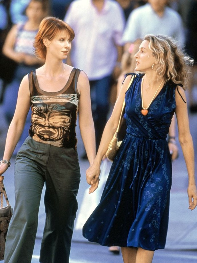 Of course, Miranda was just as capable of turning a future-forward casual look—i.e. this Jean Paul Gaultier-esque sheer number.