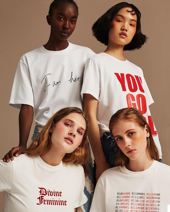 "***Net-a-Porter***<br><br> Designed by the likes of Victoria Beckham, Ellery, Alexa Chung, Perfect Moment, Isabel Marant and Rosie Assoulin, Net-A-Porter is offering six t-shirt designs to support [Women for Women International](https://www.womenforwomen.org/|target=""_blank""