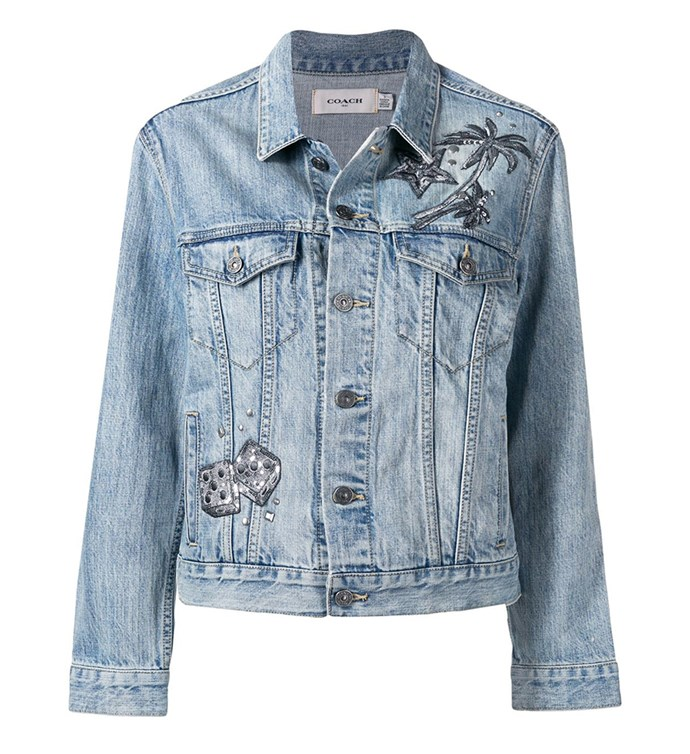 "Embellished Denim Jacket by [Coach](https://coachaustralia.com/store-locator?utm_source=elle&utm_medium=article&utm_campaign=sarah-ellen-elle&utm_content=store-locator|target=""_blank""