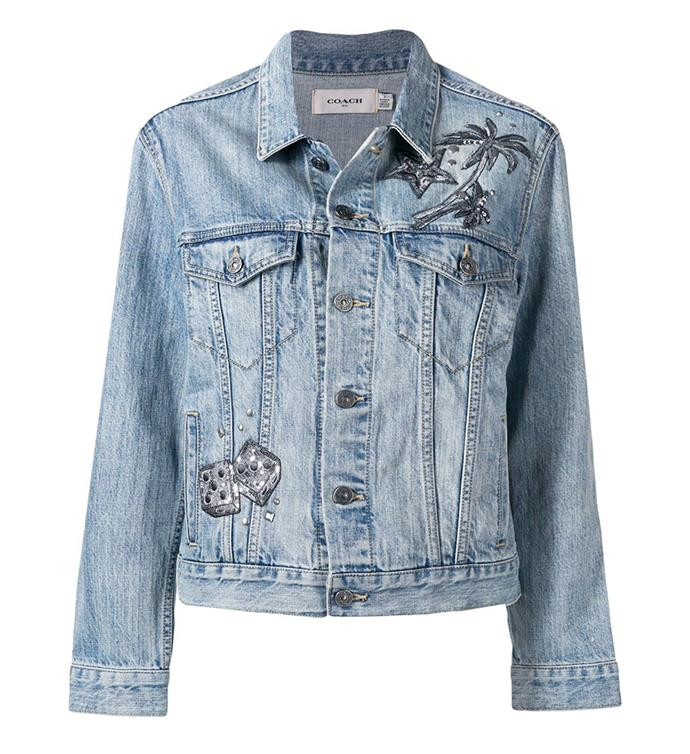 "Embellished Denim Jacket by [Coach](https://coachaustralia.com/store-locator?utm_source=elle&utm_medium=article&utm_campaign=sarah-ellen-elle&utm_content=store-locator target=""_blank"" rel=""nofollow""), $950"