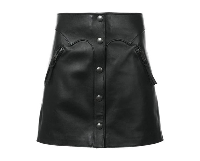 "Leather Mini Skirt by [Coach](https://coachaustralia.com/store-locator?utm_source=elle&utm_medium=article&utm_campaign=sarah-ellen-elle&utm_content=store-locator|target=""_blank""