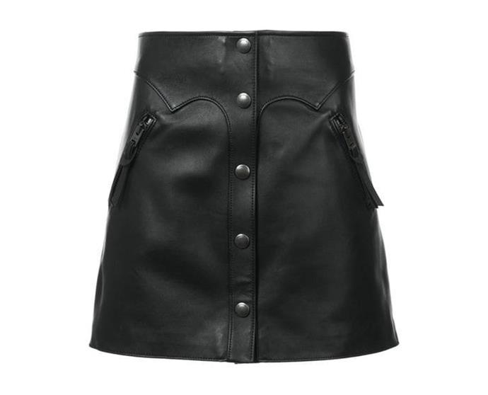 """Leather Mini Skirt by [Coach](https://coachaustralia.com/store-locator?utm_source=elle&utm_medium=article&utm_campaign=sarah-ellen-elle&utm_content=store-locator target=""""_blank"""" rel=""""nofollow""""), $950"""