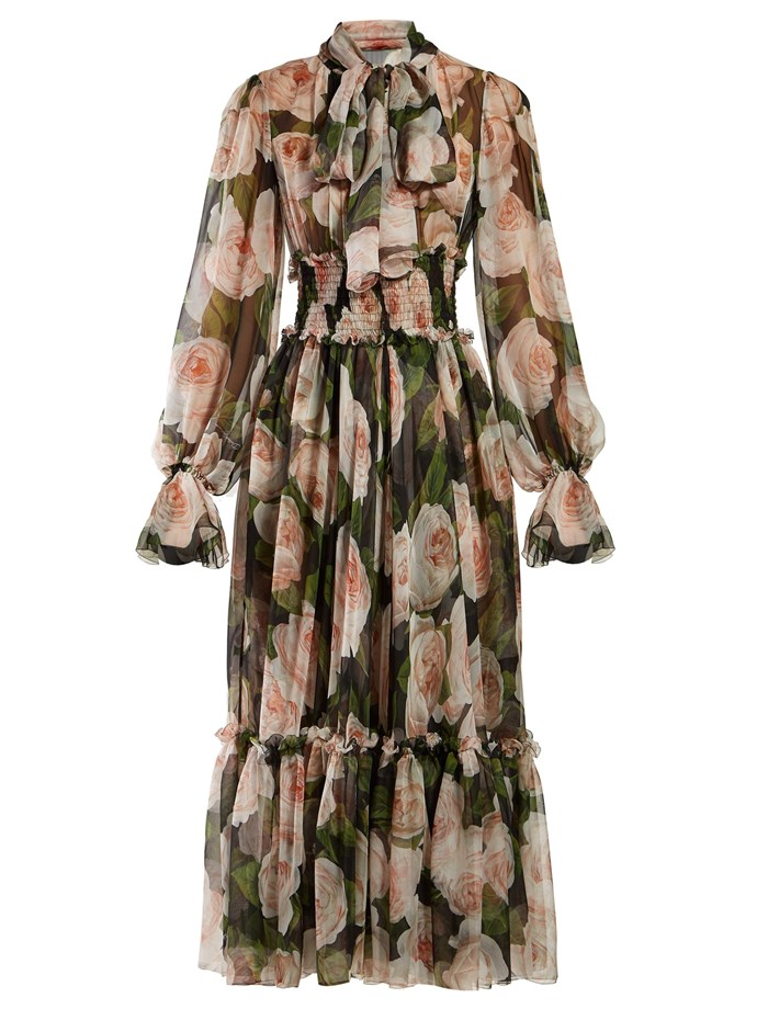 "**Buy:** Silk-chiffon dress by Dolce and Gabbana, $5,550 at [MATCHESFASHION](https://www.matchesfashion.com/au/products/Dolce-%26-Gabbana-Floral-print-tie-neck-silk-chiffon-dress-1248290|target=""_blank""