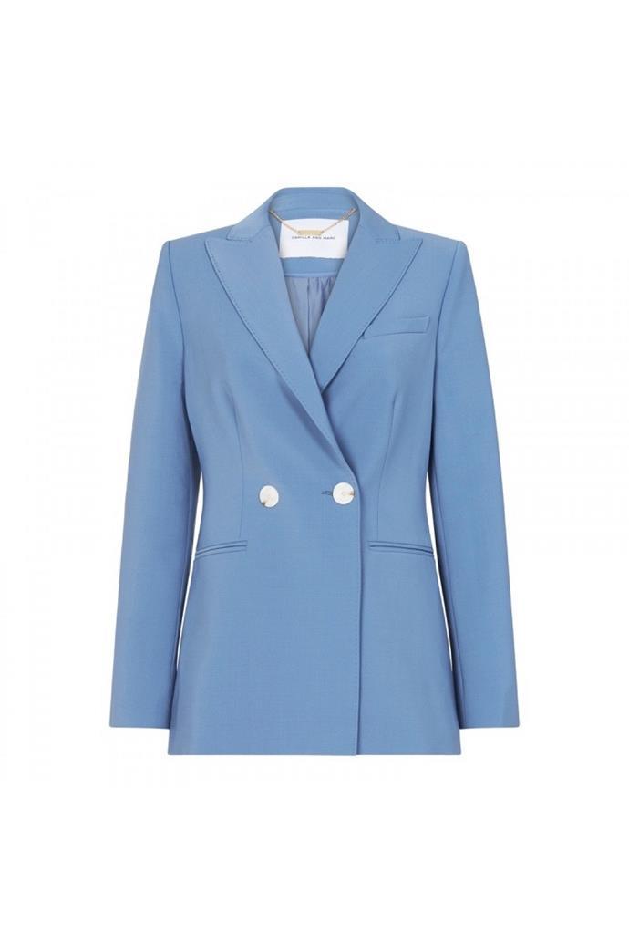 "**Buy:** Rydall Blazer, $850 by [Camilla and Marc](https://www.camillaandmarc.com/rydell-blazer-dove-blue.html#|target=""_blank""|rel=""nofollow"") <br> Silk-Satin Maxi Dress by Deitas, $1,372.57 at [Net-A-Porter](https://www.net-a-porter.com/au/en/product/1120912?|target=""_blank""|rel=""nofollow"")"
