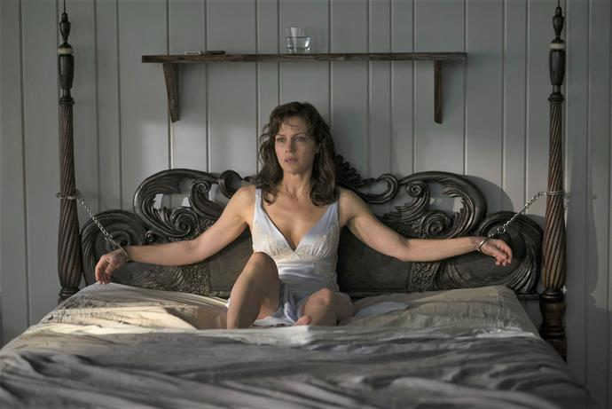 "***Gerald's Game*** <br><br> ""When her husband's sex game goes wrong, Jessie—handcuffed to a bed in a remote lake house—faces warped visions, dark secrets and a dire choice."""