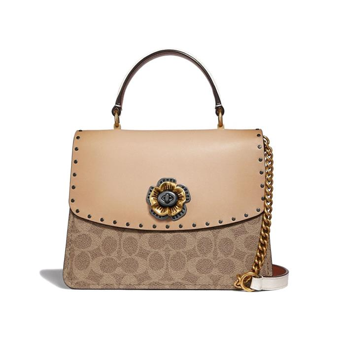 "Parker Top Handle Bag by [Coach](https://coachaustralia.com/product/parker-top-handle-in-signature-canvas-with-rivets?utm_source=elle&utm_medium=article&utm_campaign=sarah-ellen-elle&utm_content=text-link#C/53349V5ONI target=""_blank"" rel=""nofollow""), $725"