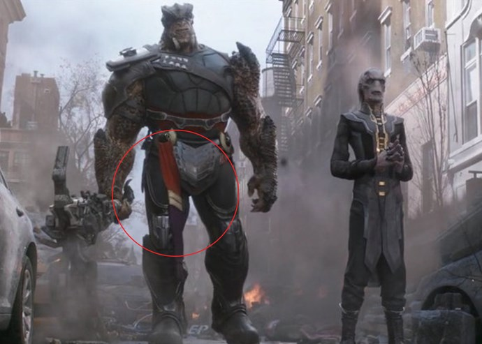 ***Cull Obsidian's mysterious sash***<bR><br> After watching *Captain Marvel*, fans did an immediate re-watch of the first *Avengers: Infinity War* to see if they missed anything… and we just may have. During the scene where Thanos' Black Order is facing off against Doctor Strange, Iron Man and Spider-Man on Earth, one of the order, Cull Obsidian, is wearing a strange sash that is the exact colours and design as Captain Marvel's suit.<bR><br> Considering that Carol did look a little worse for wear in the post-credits scene when she reappears, could she have gotten into a scrap with Thanos' crew? Does Cull have part of her uniform as a trophy?