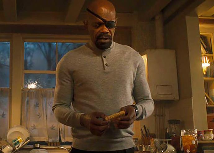 """***The sandwich dilemma***<br><br> In *Captain Marvel*, Nick Fury proves he's not being impersonated by a Skrull by revealing something about him that no one knows: he can't eat toast if it's cut diagonally. <br><br> However, what happens in *Avengers: Age of Ultron*? Fury goes into the kitchen, makes a sandwich… and cuts it diagonally. <br><br> A writer at *[Buzzfeed](https://www.buzzfeed.com/noradominick/captain-marvel-detail-related-to-age-of-ultron-nick-fury target=""""_blank"""" rel=""""nofollow"""")* speculates that Fury could be dead and that his life has been 'taken over' by a Skrull for the past two decades. A very tiny clue, but a good one."""