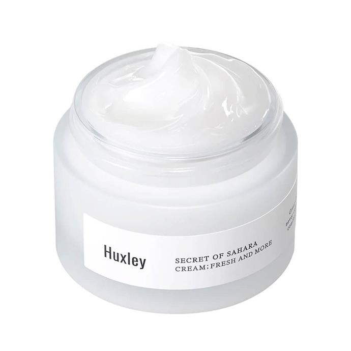 """***Huxley Cream: Fresh And More***<bR><br> With a hero ingredient of Sahara Cactus seed oil, you know this cream will keep your skin hydrated even in the driest conditions. That's not to say it's an overwhelming texture; it quickly absorbs into the skin without leaving any greasy residue.<bR><br> Moisturiser by Huxley, $65 at [Nudie Glow](https://nudieglow.com/collections/huxley-australia/products/huxley-cream-fresh-and-more target=""""_blank"""" rel=""""nofollow"""")."""